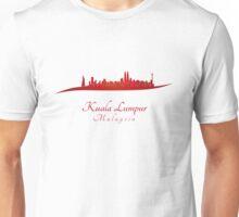 Kuala Lumpur skyline in red Unisex T-Shirt