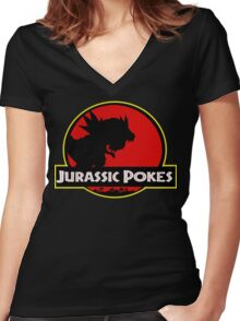 Jurassic Poké Women's Fitted V-Neck T-Shirt