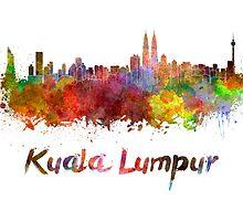 Kuala Lumpur skyline in watercolor by paulrommer
