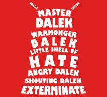 Master Dalek ('Soft Kitty' style) WHITE One Piece - Long Sleeve