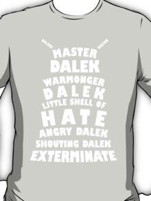 Master Dalek ('Soft Kitty' style) WHITE T-Shirt