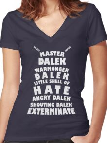 Master Dalek ('Soft Kitty' style) WHITE Women's Fitted V-Neck T-Shirt