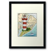 Hilton Head Lighthouse SC Nautical Chart Peek Framed Print