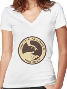 Raptor Alliance Project: Full Color Women's Fitted V-Neck T-Shirt