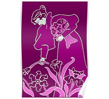 Lady with flowers modern art nouveau purple Poster