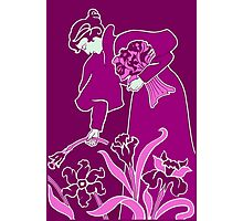 Lady with flowers modern art nouveau purple Photographic Print