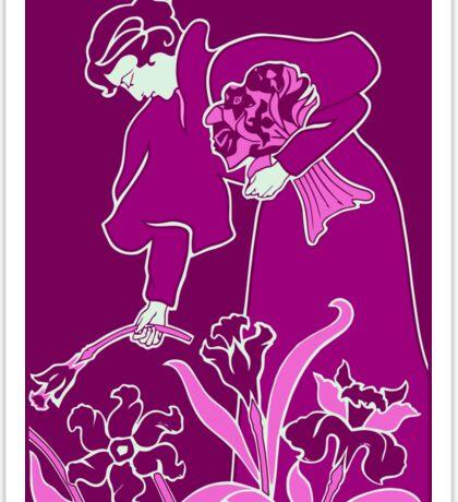 Lady with flowers modern art nouveau purple Sticker