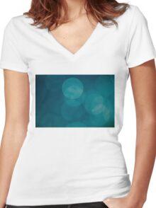 Blue green Women's Fitted V-Neck T-Shirt