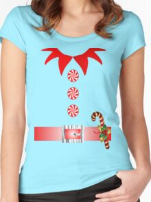 cute cartoon merry christmas elf costume Women's Fitted Scoop T-Shirt