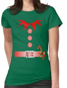 cute cartoon merry christmas elf costume Womens Fitted T-Shirt
