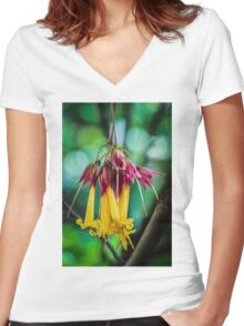 Hanging Flowers with Green Bokeh Women's Fitted V-Neck T-Shirt