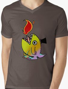 Dopey Dino Mens V-Neck T-Shirt