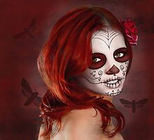 Firey Red Day Of The Dead by Diana Shively