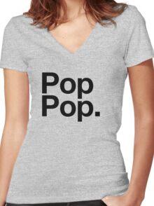 Pop Pop (Black) Women's Fitted V-Neck T-Shirt