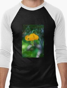 Yellow-Orange Flower with Curling Petals Men's Baseball ¾ T-Shirt
