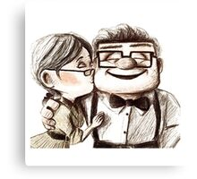 Carl and Ellie kiss Canvas Print