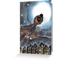 HARE FLYING Greeting Card