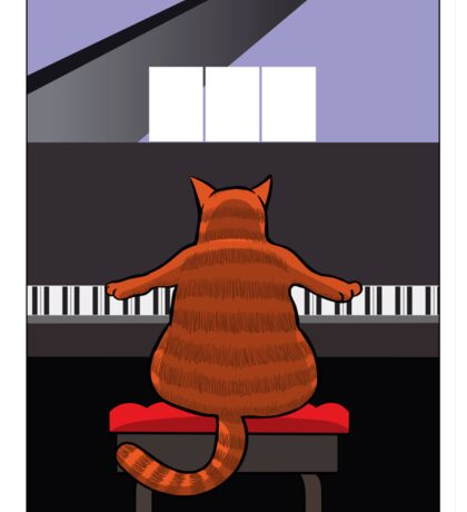 Cat at the Piano Sticker