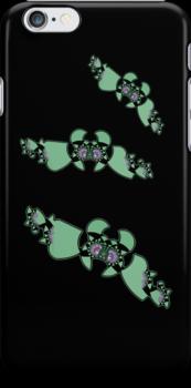 Geek style flying fractals pattern design II by Mariannne Campolongo