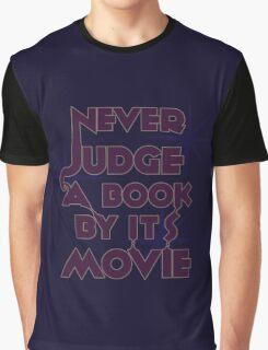 Never Judge A Book By Its Movie (Purple on Blue) Graphic T-Shirt