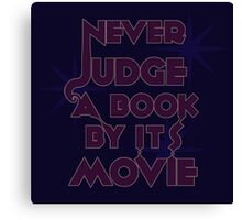 Never Judge A Book By Its Movie (Purple on Blue) Canvas Print