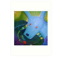 Blue Dog with Orange Ball Art Print