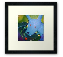 Blue Dog with Orange Ball Framed Print
