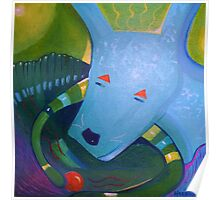 Blue Dog with Orange Ball Poster