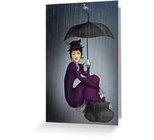 Mary Poppins in the Rain Greeting Card