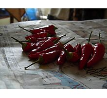 Drying Peppers Photographic Print