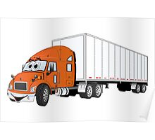 Semi Truck Orange White Trailer Poster
