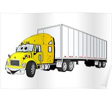 Semi Truck Yellow White Trailer Poster