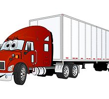 Semi Truck Red White Trailer by Graphxpro