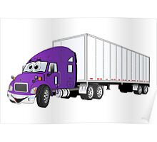Semi Truck Purple White Trailer Poster