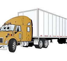 Semi Truck Gold White Trailer by Graphxpro