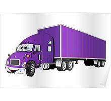 Semi Truck Purple Trailer Cartoon Poster