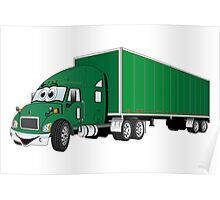 Semi Truck Green Trailer Cartoon Poster