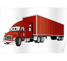 Semi Truck Red Trailer Cartoon Poster