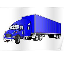 Semi Truck Blue Trailer Cartoon Poster