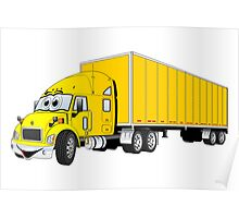 Semi Truck Yellow Trailer Cartoon Poster