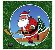 Santa Hockey Photographic Print
