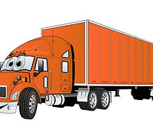 Semi Truck Orange Trailer Cartoon by Graphxpro