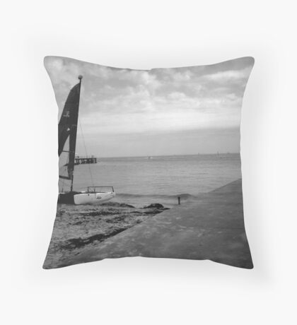 """Sailboat on Beach""  Throw Pillow"