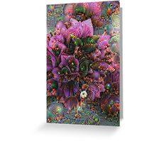 Pink Flower Cluster Machine Dreams Greeting Card