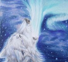 Singer of Light - Aurora Wolf Colored Pencil Drawing by AmandaUlfrica