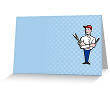 Barber Comb and Scissors Cartoon Greeting Card