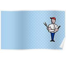 Barber Comb and Scissors Cartoon Poster