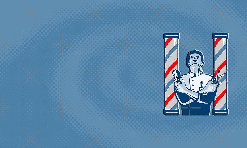 Barber With Pole Hair Clipper and Scissors Retro by patrimonio