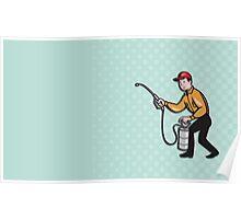 Pest Control Exterminator Worker Spraying Cartoon Poster