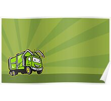 Waste Collection Garbage Rubbish Truck Cartoon Poster